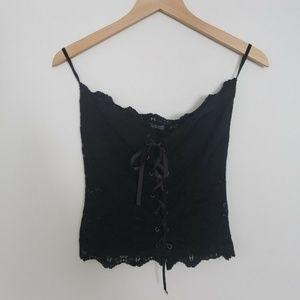 Venus Womens Lace Bodice Top Black Tie Front Sheer
